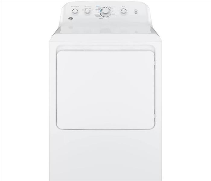 A white home dryer.